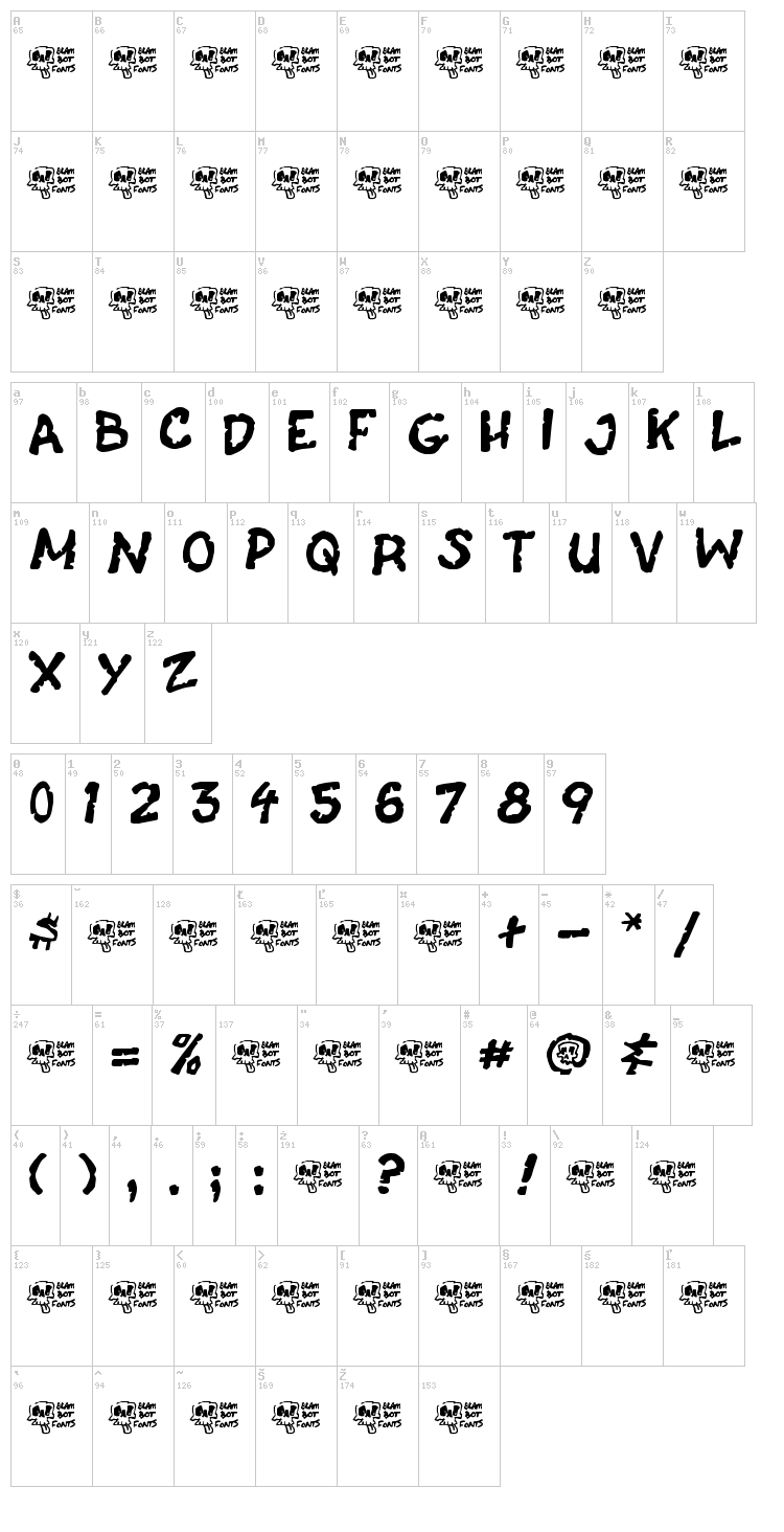 Casket Breath font map