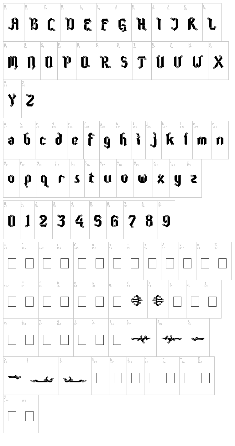 Coolin Cheer font map