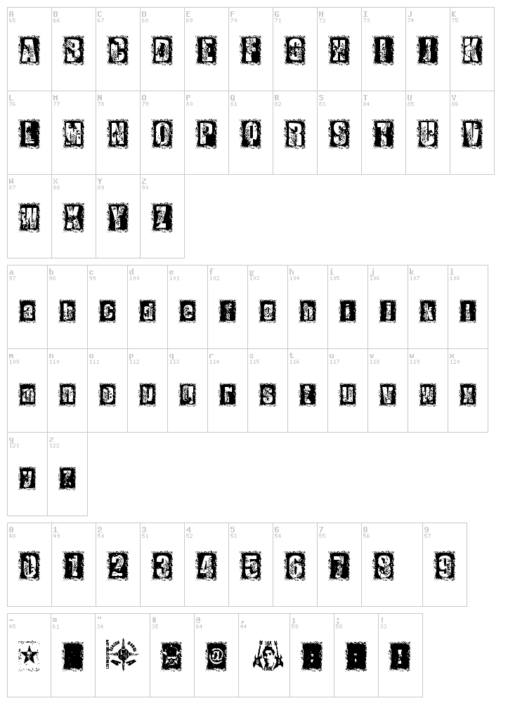 1 Dimencion font map