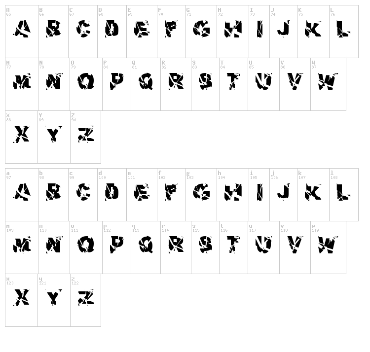 Aerial Demented font map