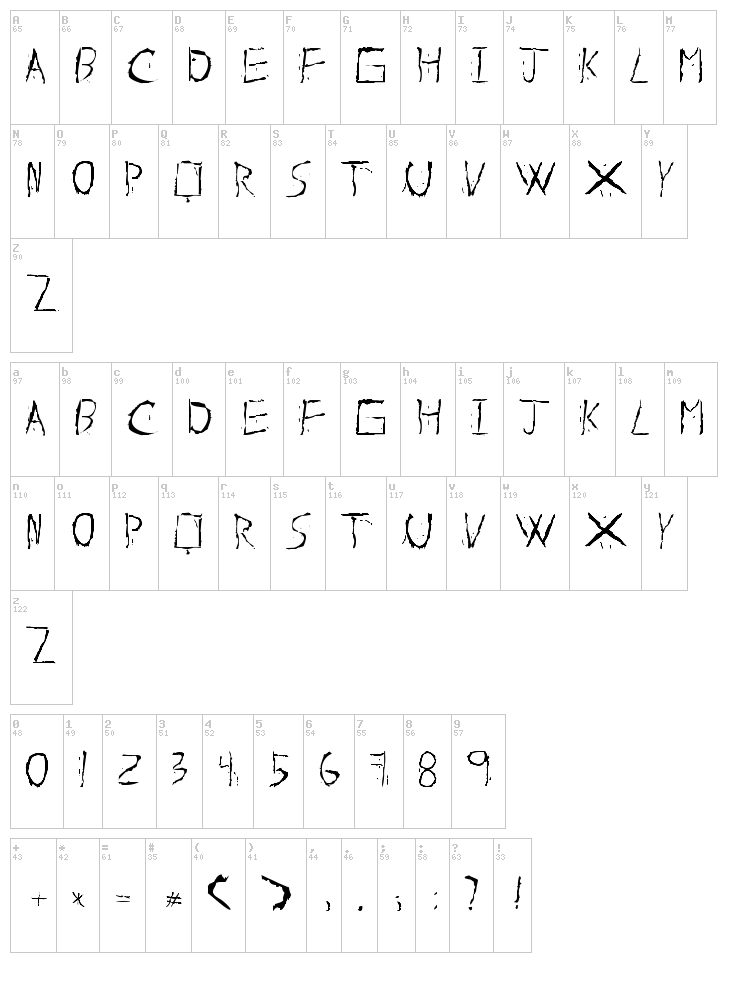 About Dead font map