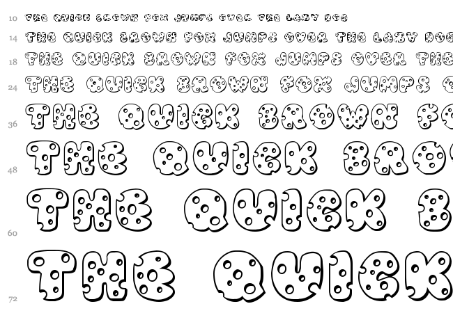 JI Swiss Cheese font waterfall