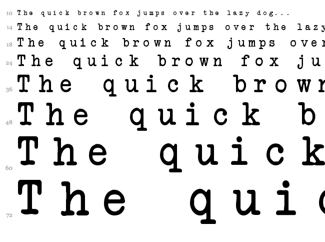 Another Typewriter font waterfall