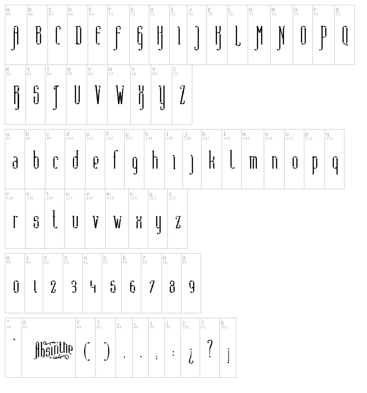 Absinthe FT font map