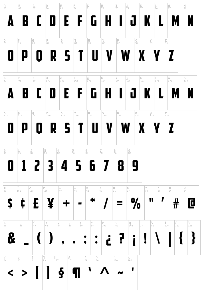 American Captain font map