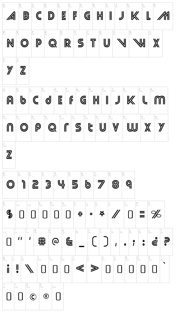 Street Cred font map