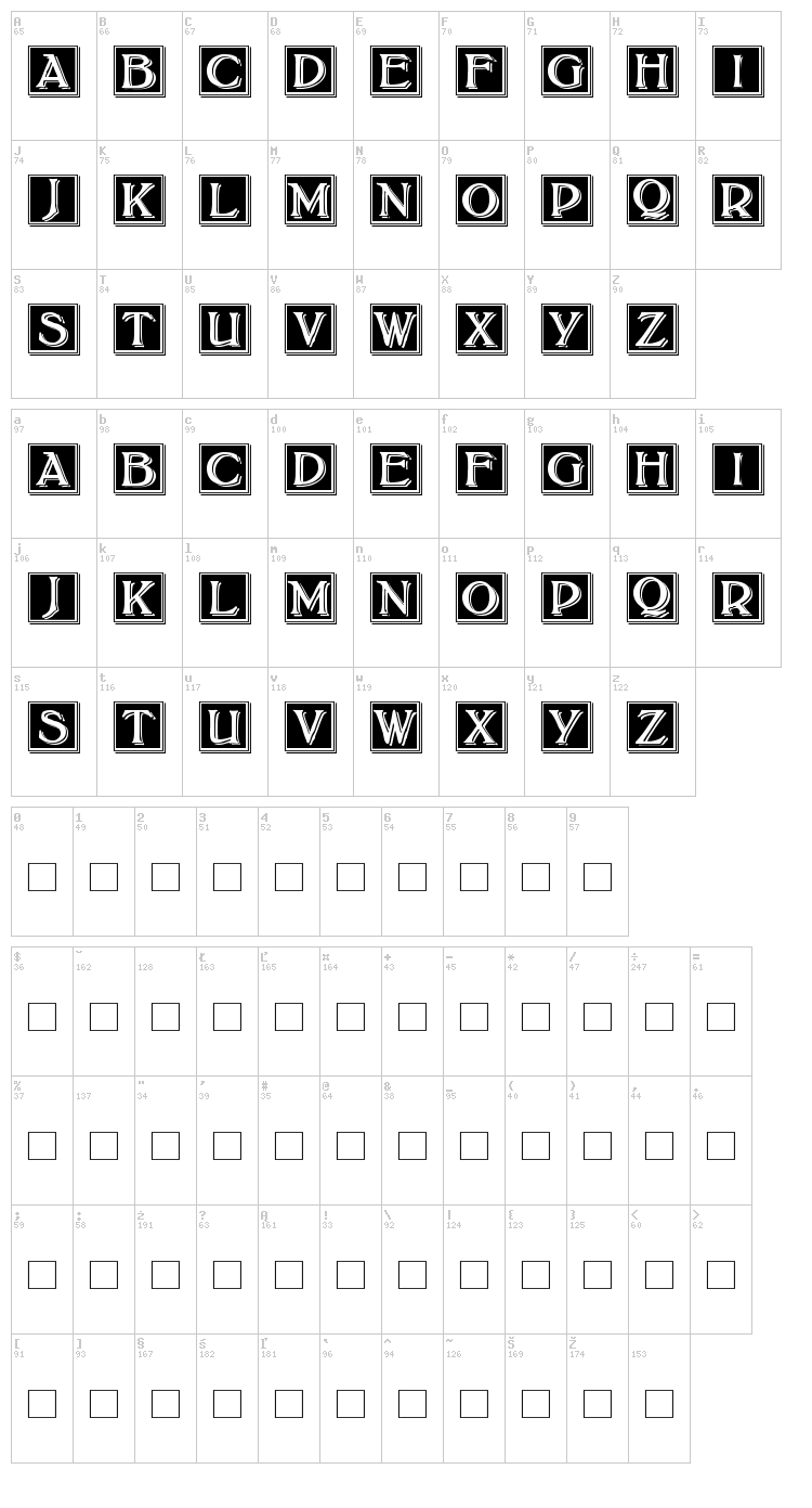Bolton Drop Caps font map
