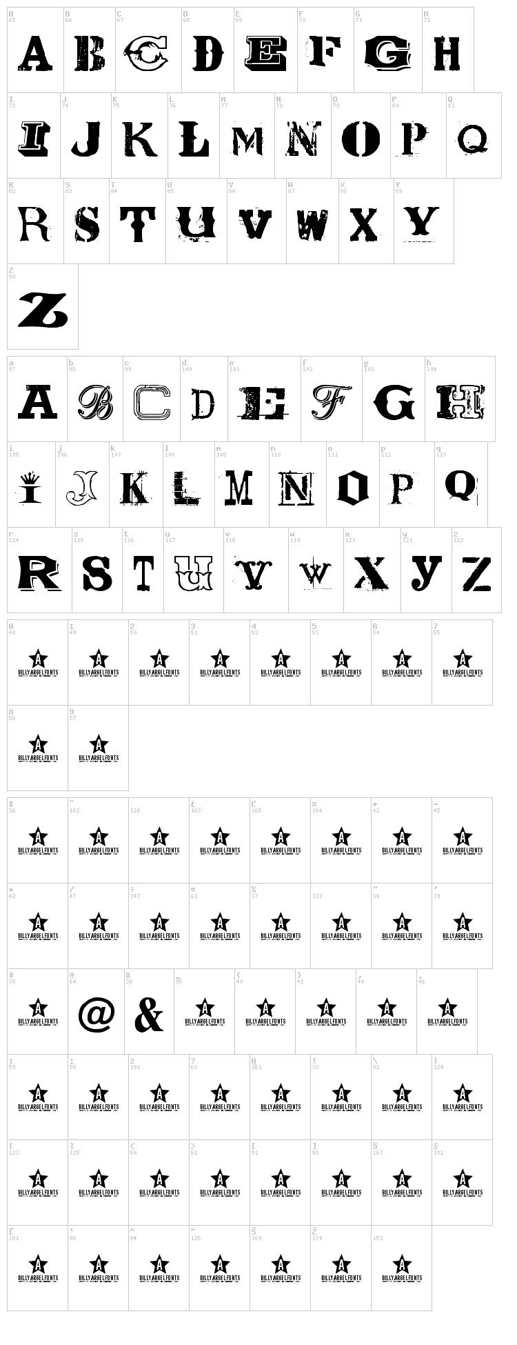Coolector font map