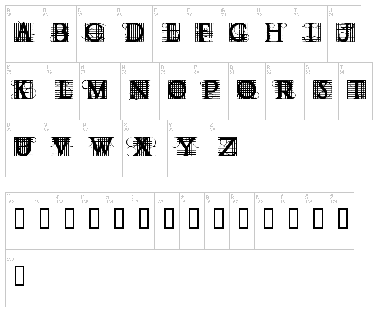 Draughtwork font map