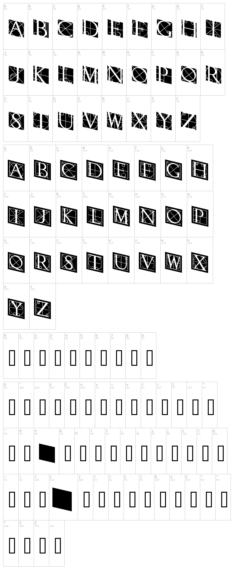 Rodgauer font map