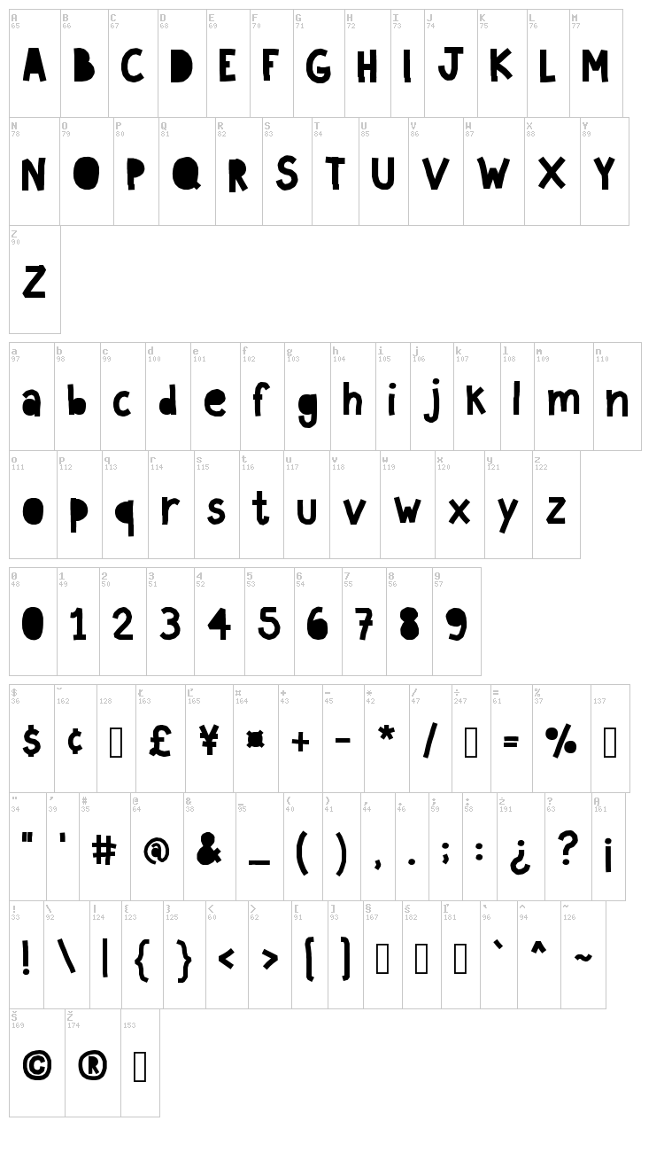 Paperland font map