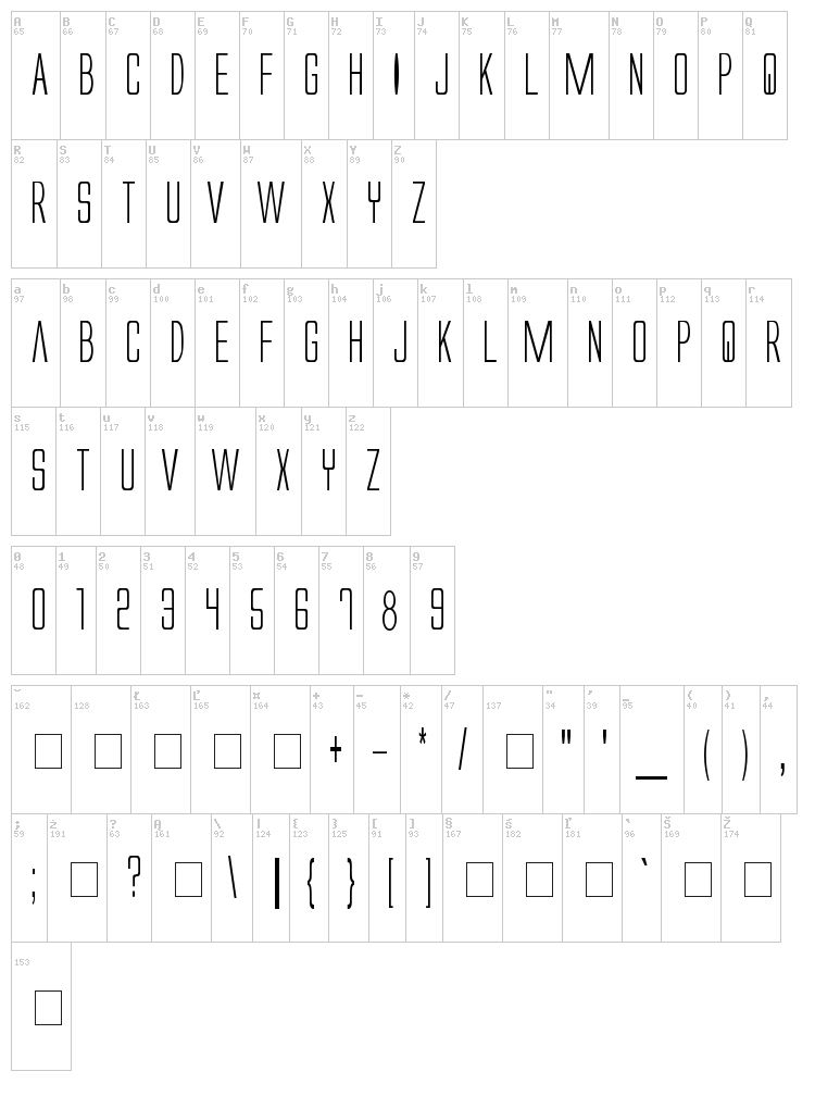 Alien League font map