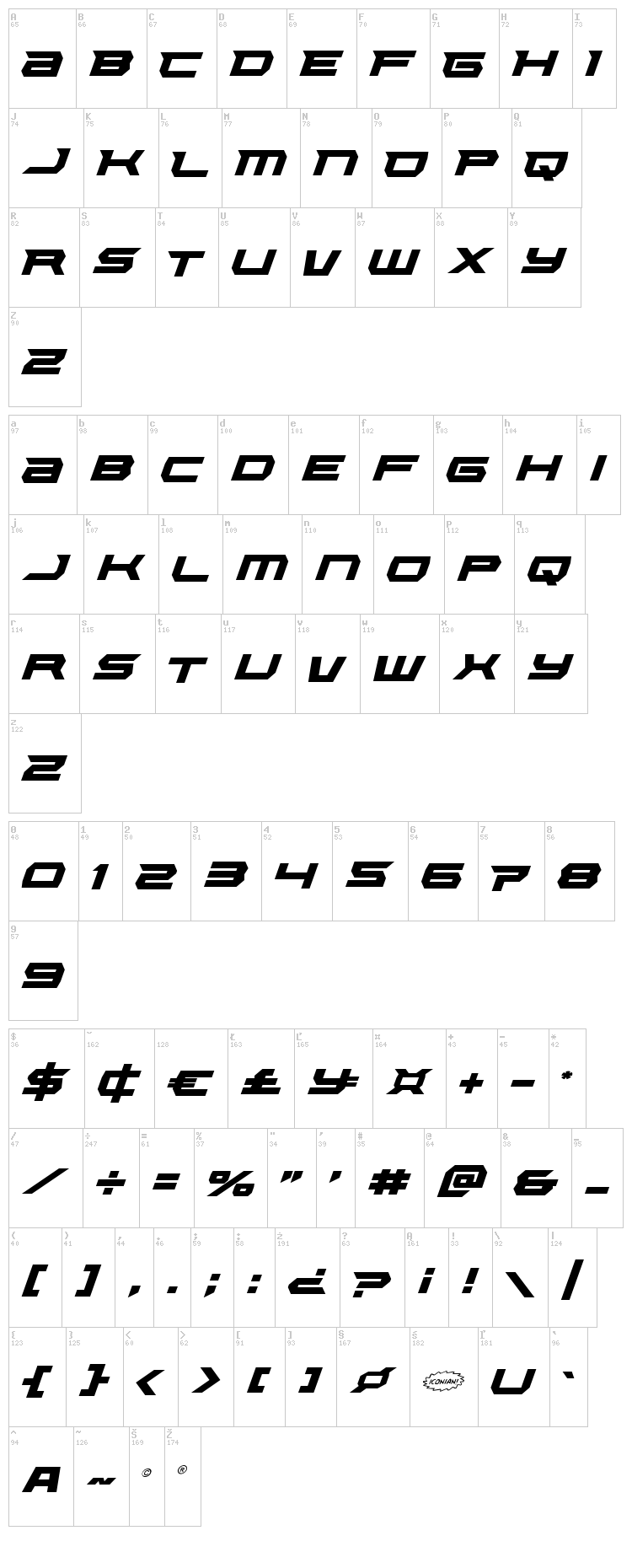 Lethal Force font map