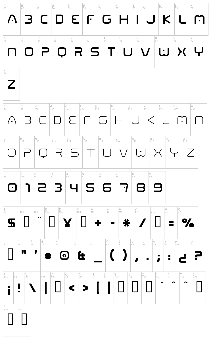 01 Digitall font map