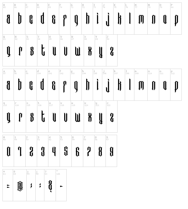 Bad Boys font map