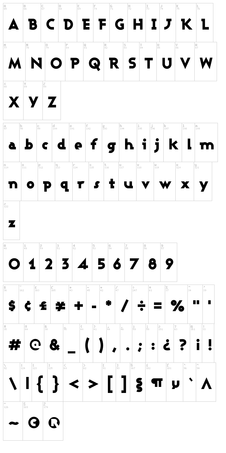 Ashby font map