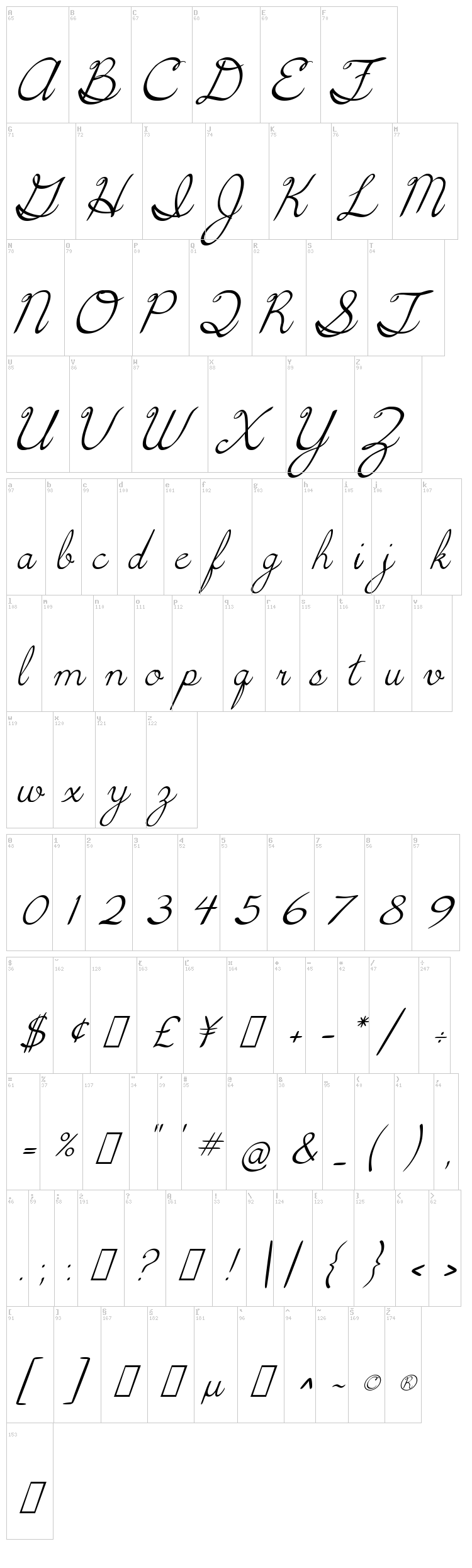 5th Grade Cursive font map