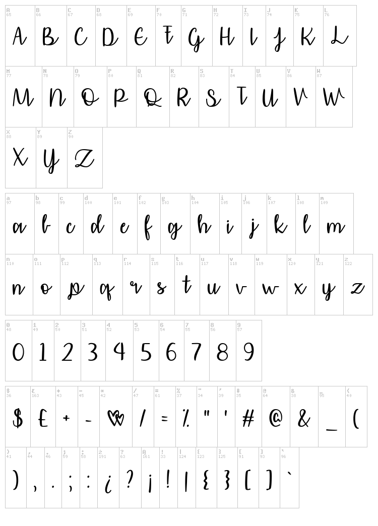 Affectionately Yours font map