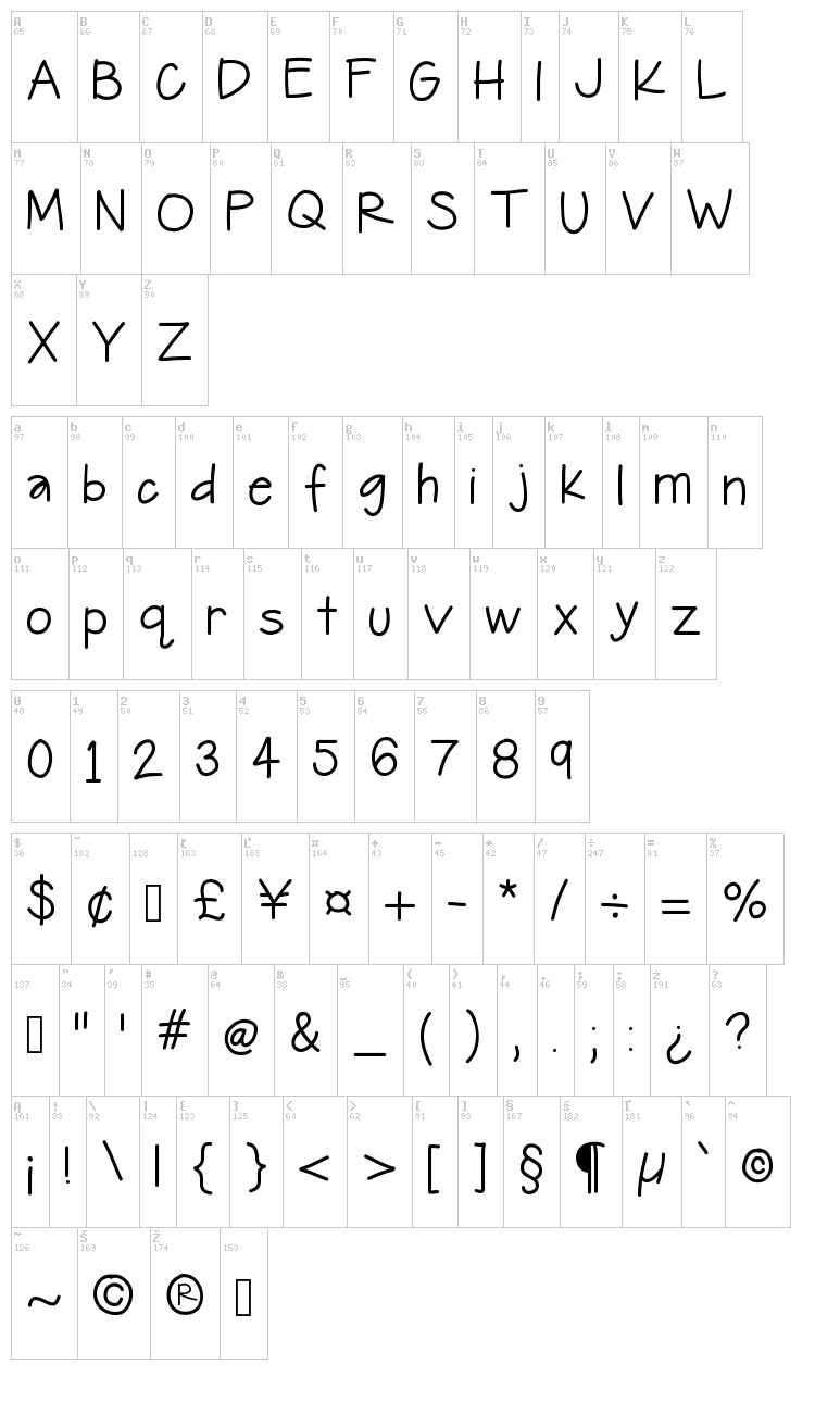 Hello Journey font map