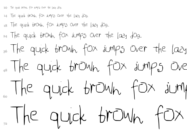 Mouse Handwriting font waterfall