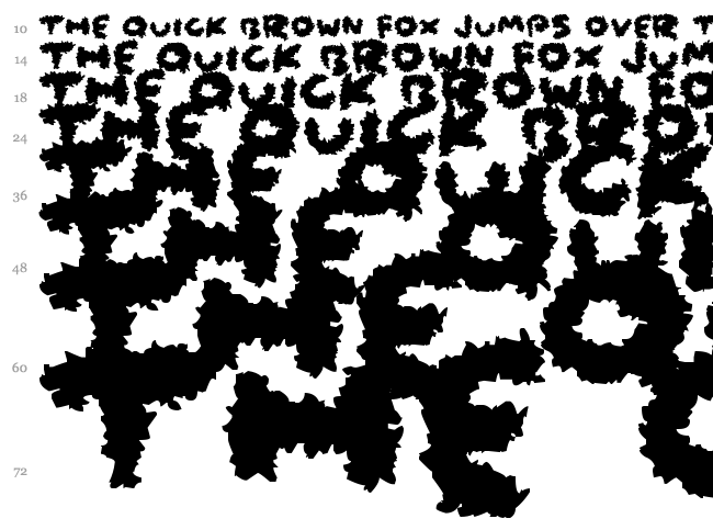 Coarse Fuzz font waterfall