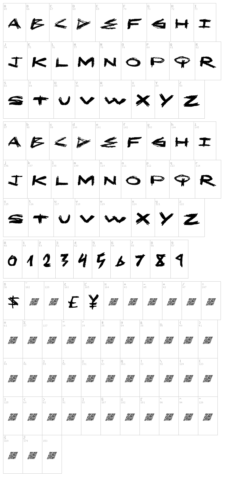 MakeOut font map