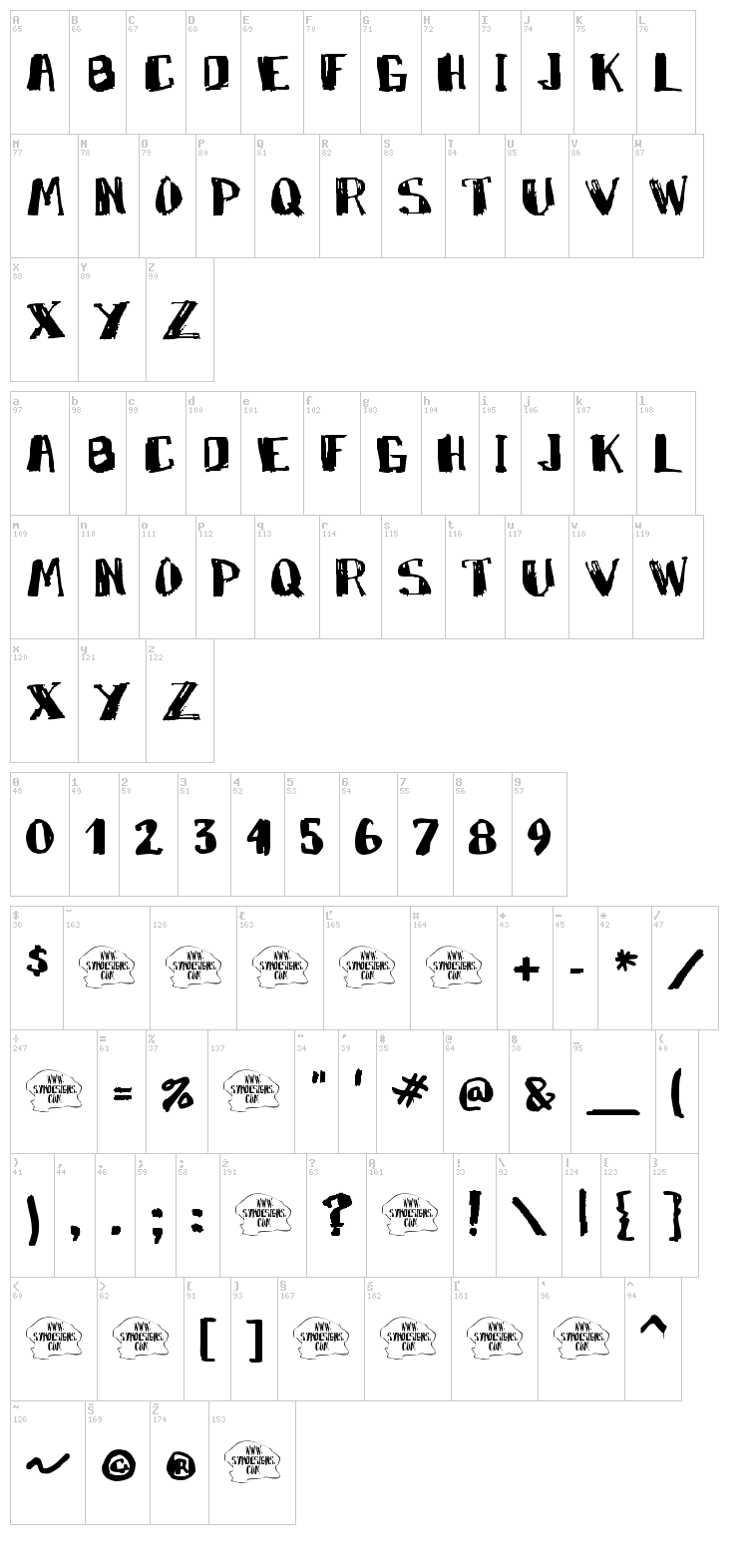 Marky Marker font map