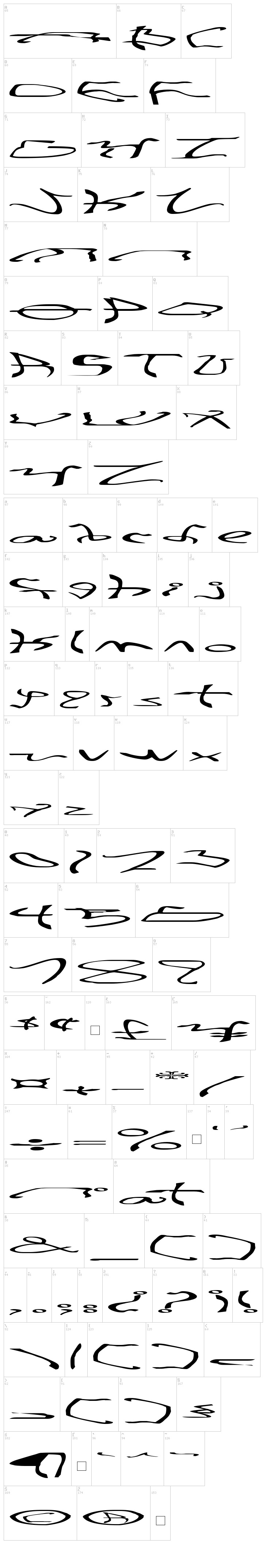 001 Stretched-Strung font map