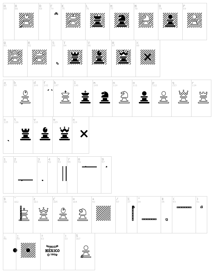 Chess Marroquin font map