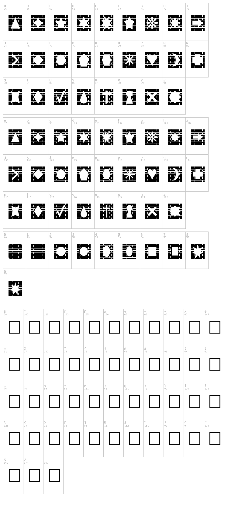Bricks n Things font map