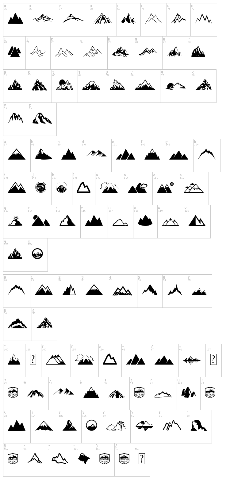 Mountain font map