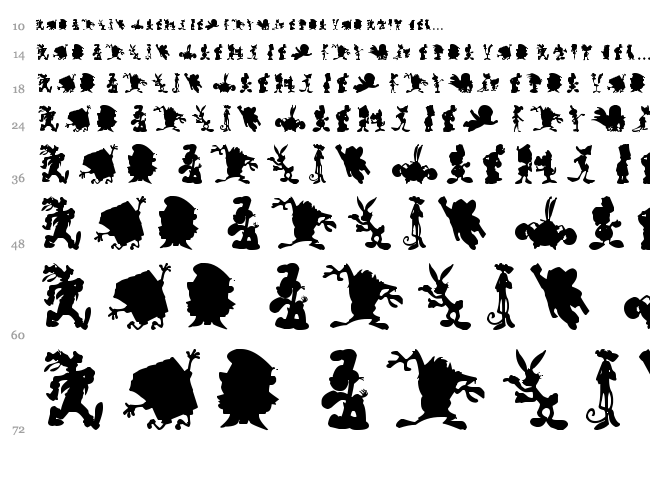 Cartoon Silhouettes font waterfall
