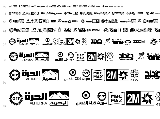 Arab TV logos font waterfall