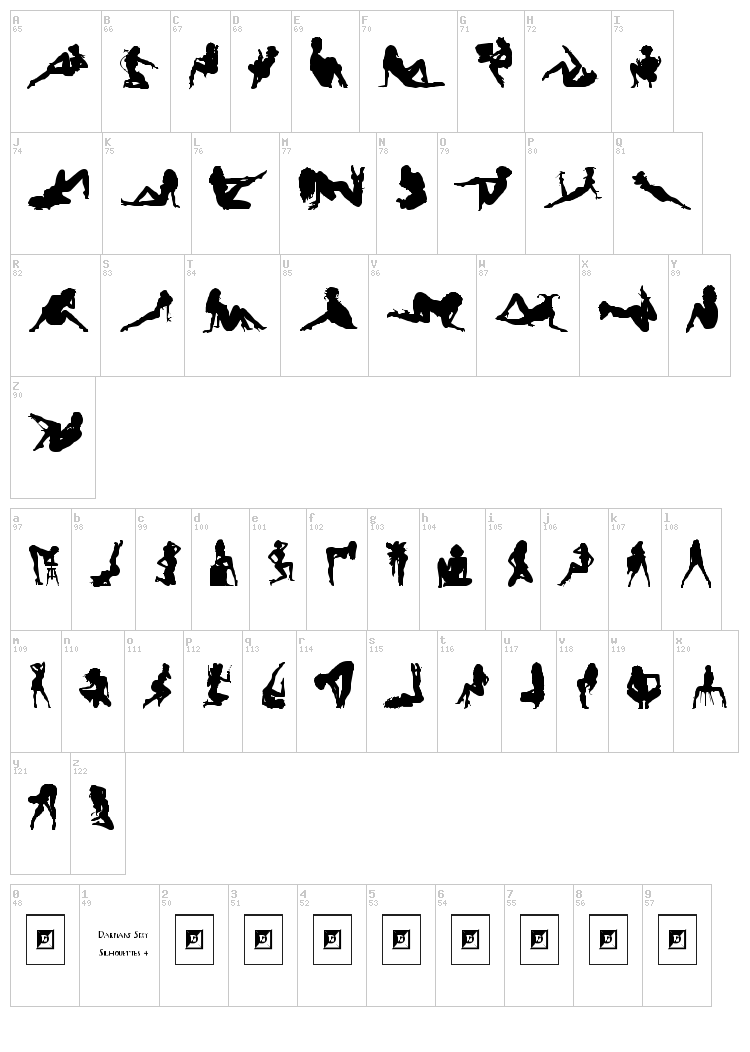 Darrians Sexy Silhouettes font map
