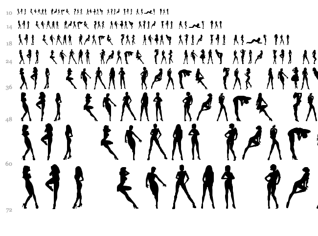 Darrians Sexy Silhouettes font waterfall