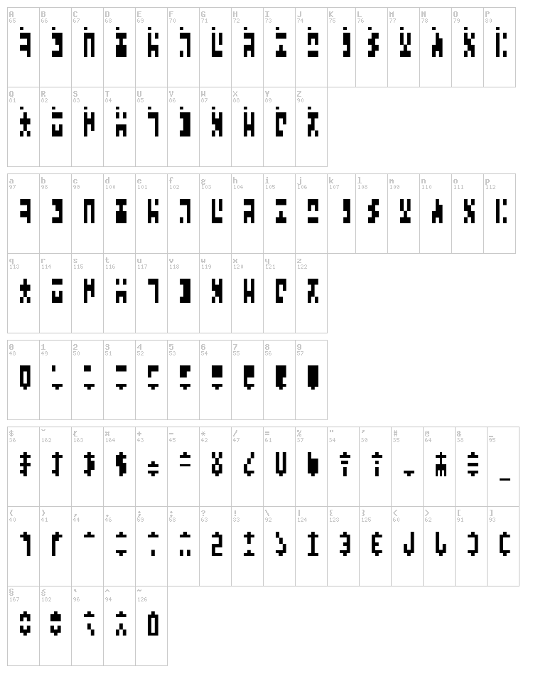 Ancient G Modern font map