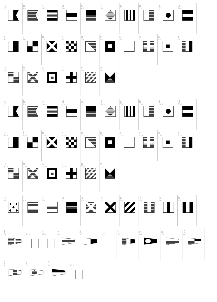 Maritime Flags font map