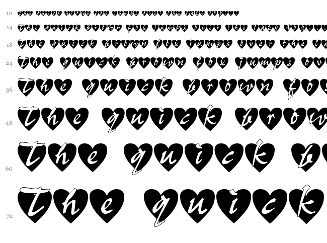 All Hearts font waterfall