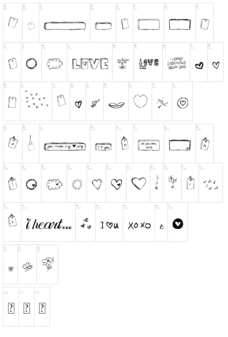 MTF I Heart Sketches font map