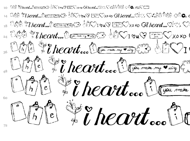 MTF I Heart Sketches font waterfall