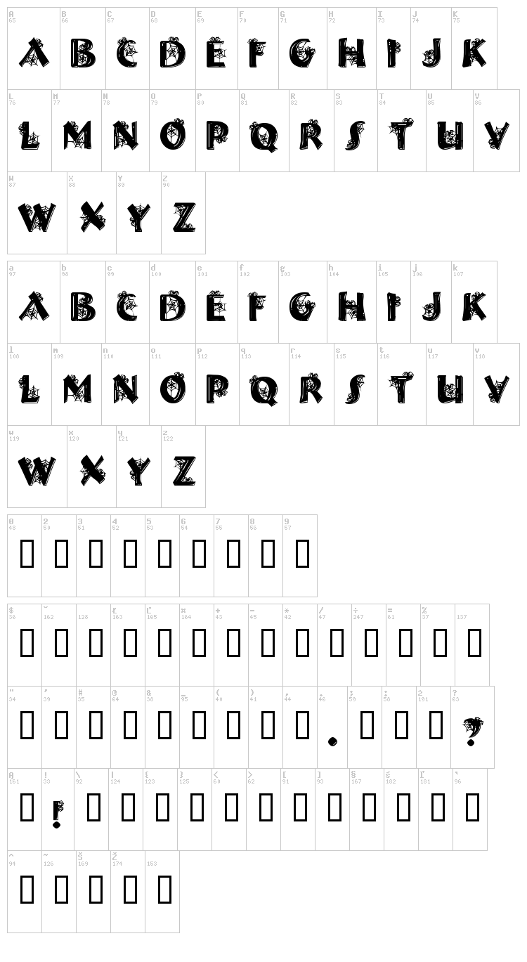 Halloween Spider font map
